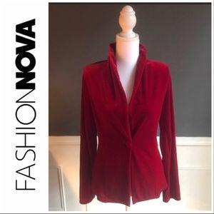 FASHION NOVA Burgundy Velvet Jacket NWT XS